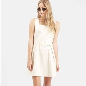 Topshop Textured Belted Pinafore Dress Size 8